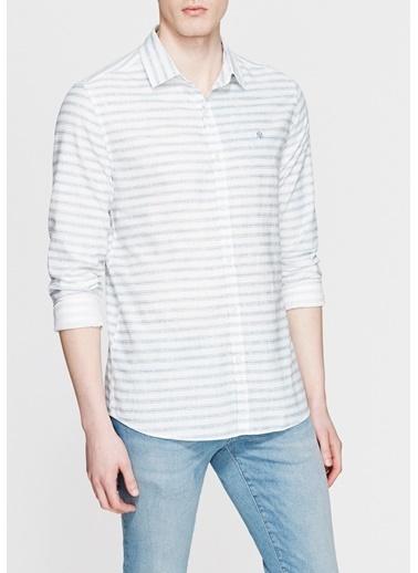 Mavi Çizgili Uzun Kollu Gömlek Beyaz